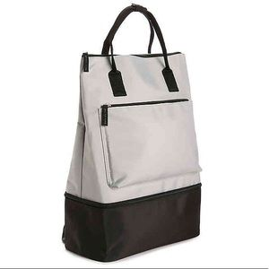 Grey Backpack Gym Bag With Shoe Compartment